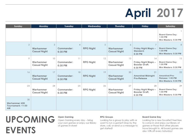 April 2017 Event Calendar